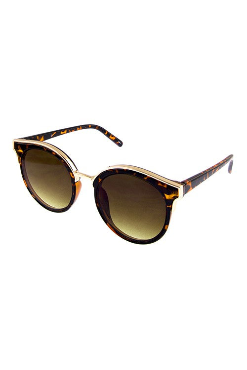 Brown + Gold Round Cat Eye Sunglasses