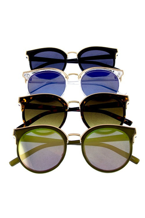 Blue Mirror +Gold Round Cat Eye Sunglasses
