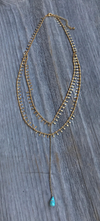 Campeche Lariet Silver/Gold with Turq Necklace