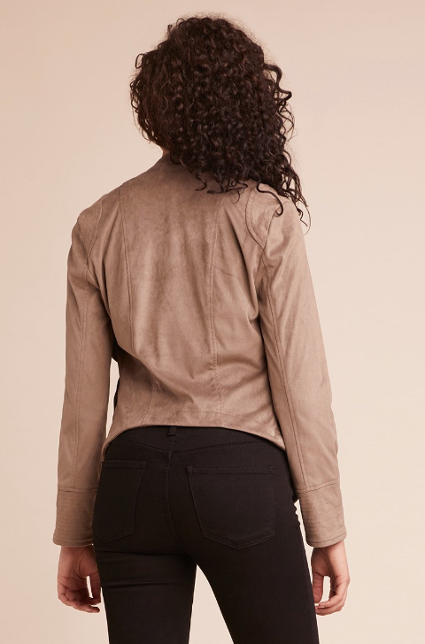 Big City Nights Drape Front Jacket Walnut