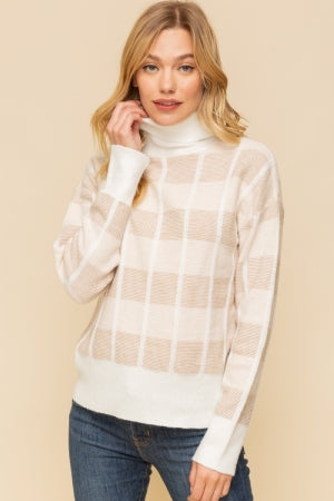 Checkers Cream and Taupe Sweater