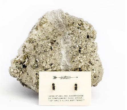 Black Bar Druzy Stud Earrings
