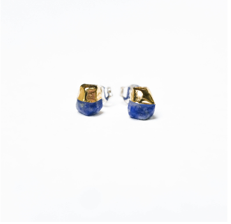 Gold Dipped Lapid Stud Earrings