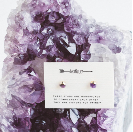 Gold DIpped Amethyst Earrings