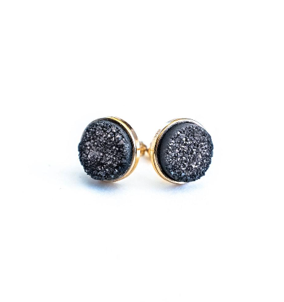 Black Druzy Cluster Earrings