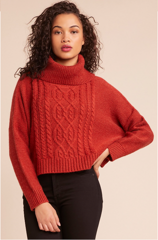 Cable Knit Turtleneck Sweater in Mustard