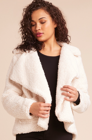 Colorblock Teddy Fur Jacket