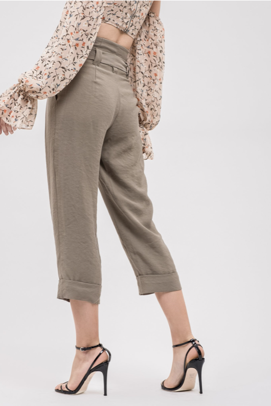 Pleated Roll Up Paper Bag Pants