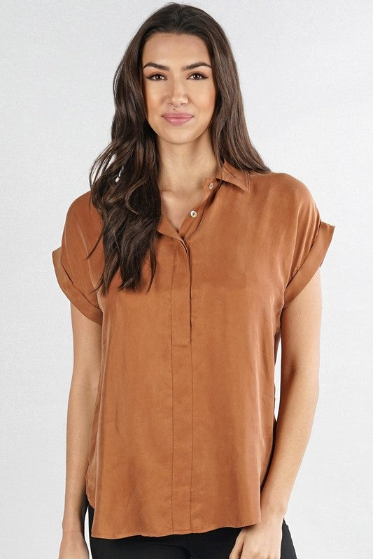 Copper  Button Down Top