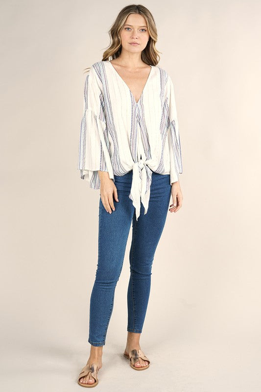 Bohemian Metallic Stipe Tie Front Top