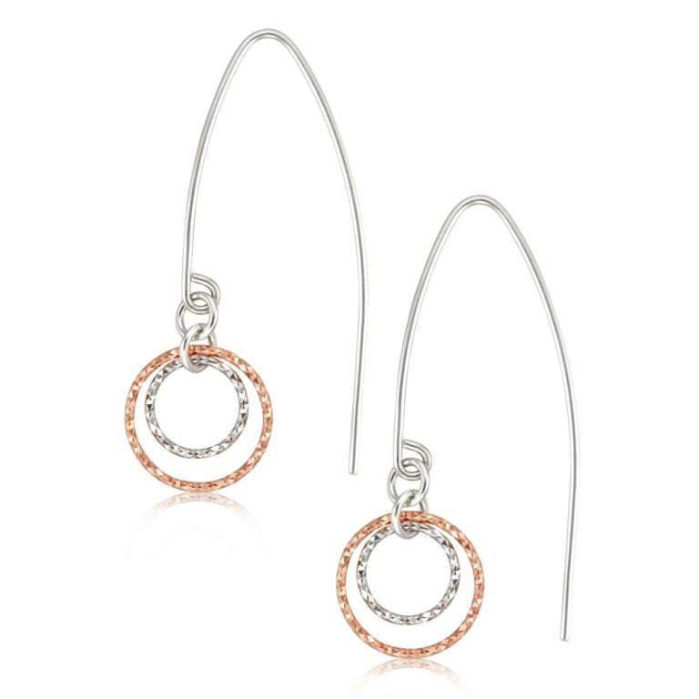 Brie -Rose Gold and Sterling Faceted Earrings