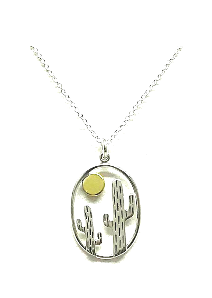 Cactus Charm Sterling Necklace
