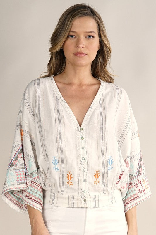 Embroidered Kimono Sleeve Top