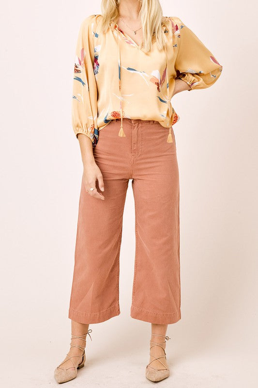 Honey & Floral Satin Top