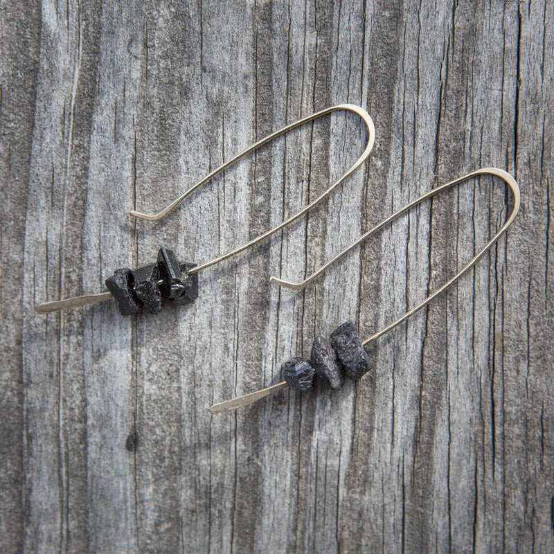 Hooks & Stones Earrings Black Kyanite Sterling Silver