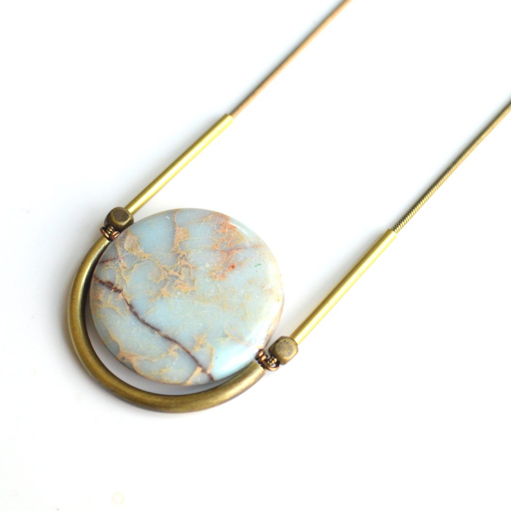 African Opal Cradle Necklace