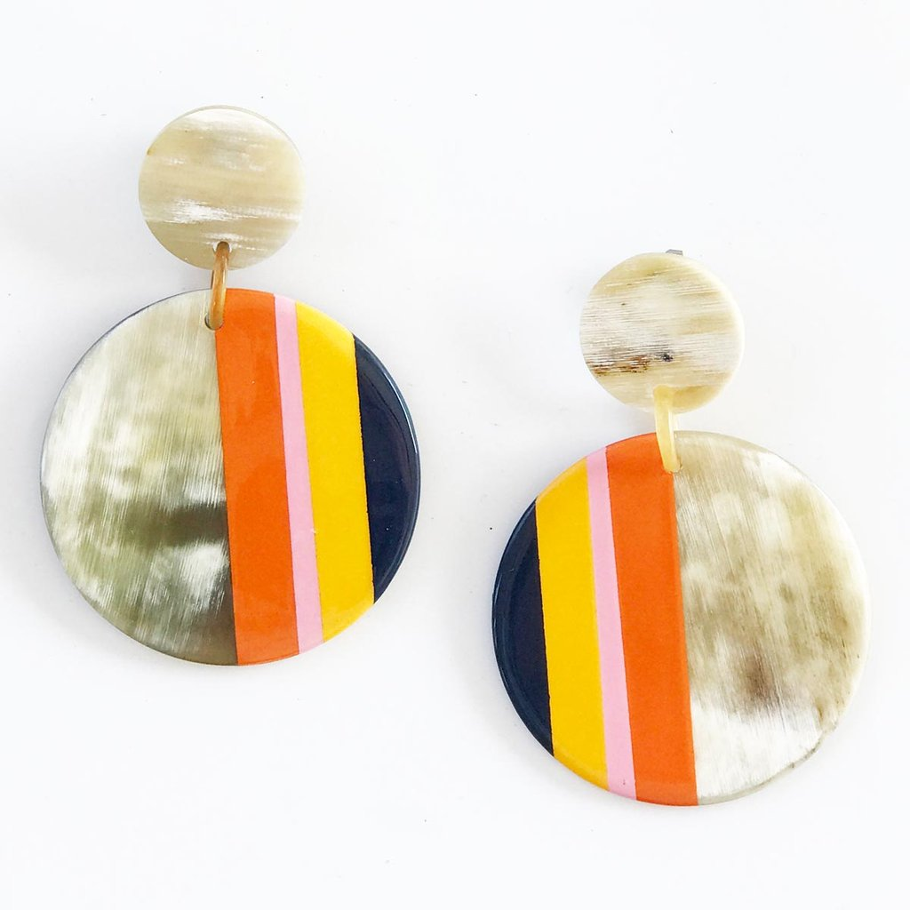 Navy Stripe Circle Earrings