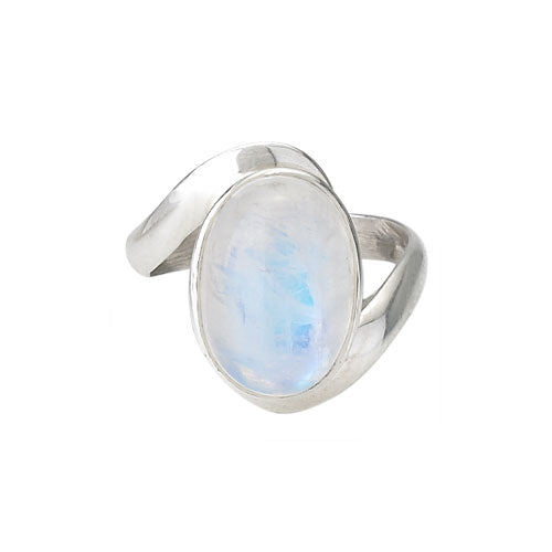 Rainbow Moonstone Wave Ring
