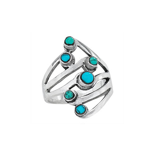 Six Stone Small Turquoise Ring
