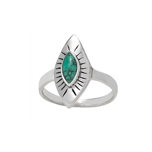 Diamond Ray Turquoise Ring