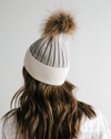 Erin Beanie- Light Grey and White