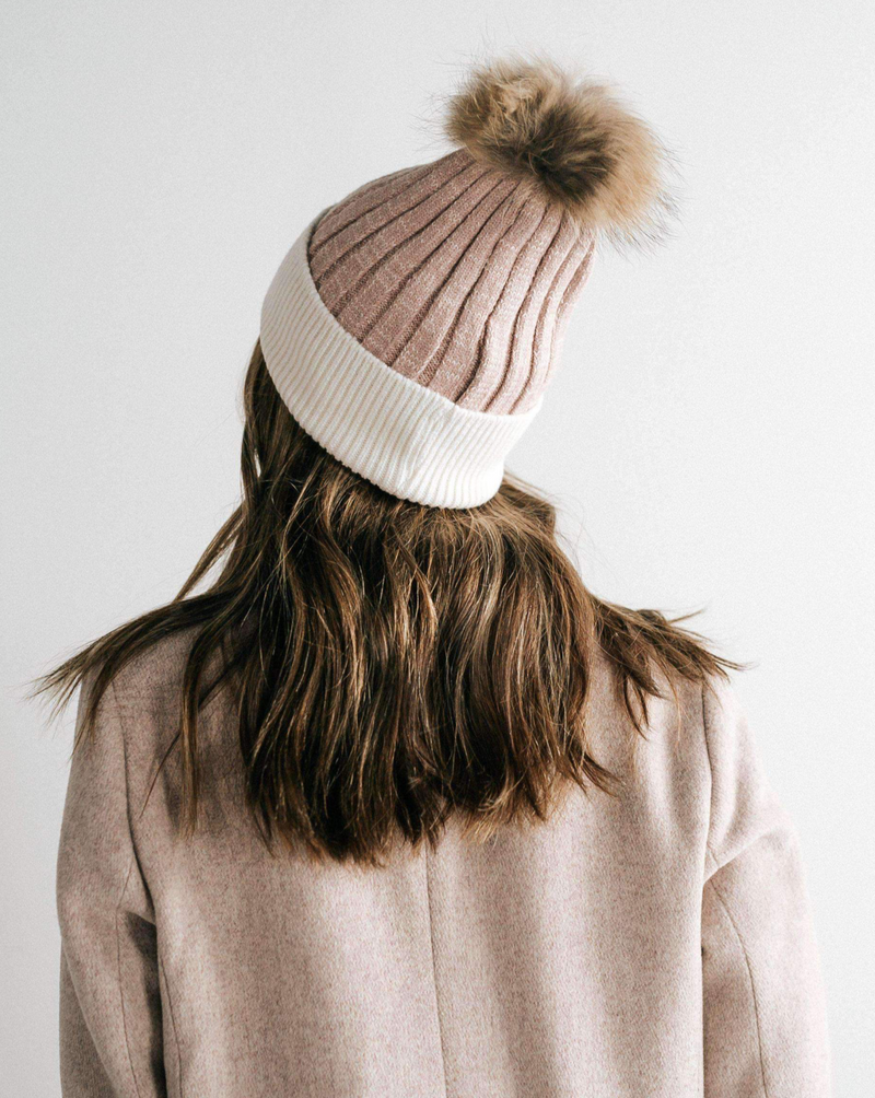 Erin Beanie- Blush and White