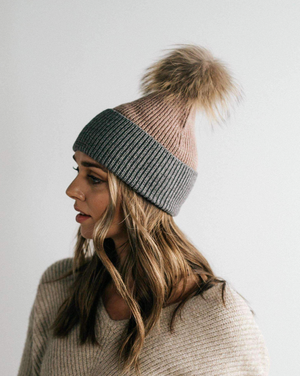 Erin Beanie- Taupe and Grey