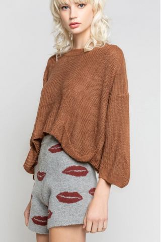 Rusty Color Block Turtleneck Sweater