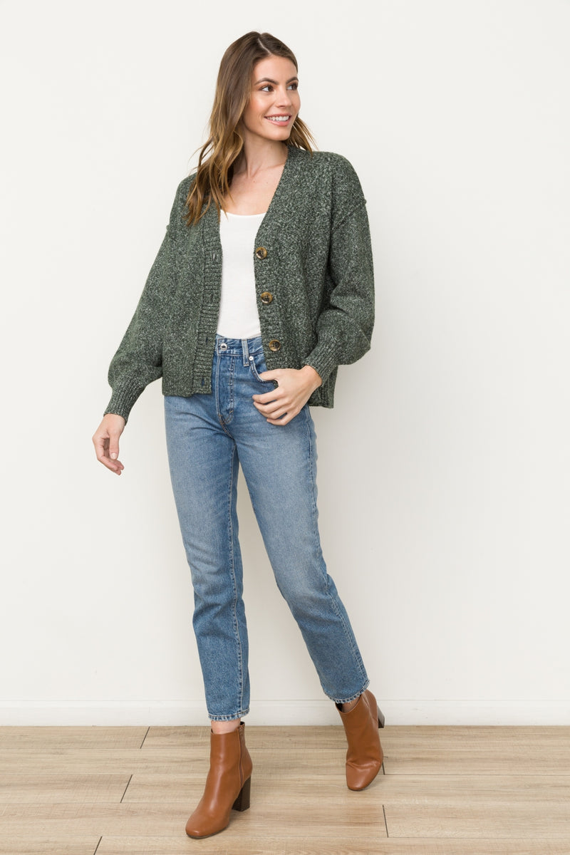 Hunter Green Bubble Sleeve Button Down Cardi