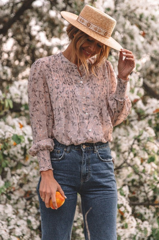 Pin Tucked Floral Top