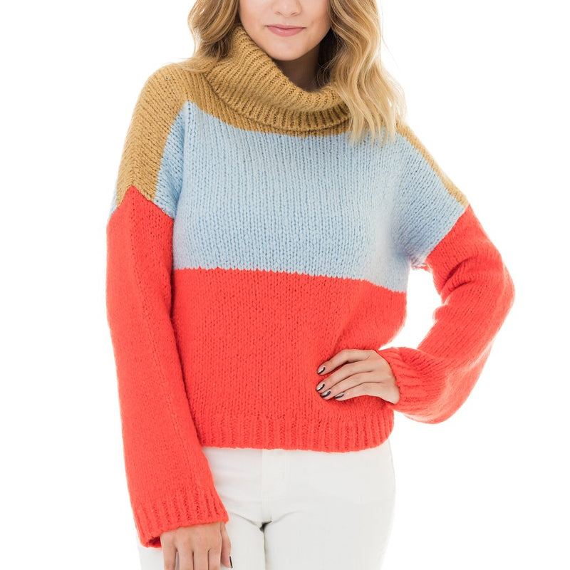 Baby Blue & Red Color Blocked Sweater