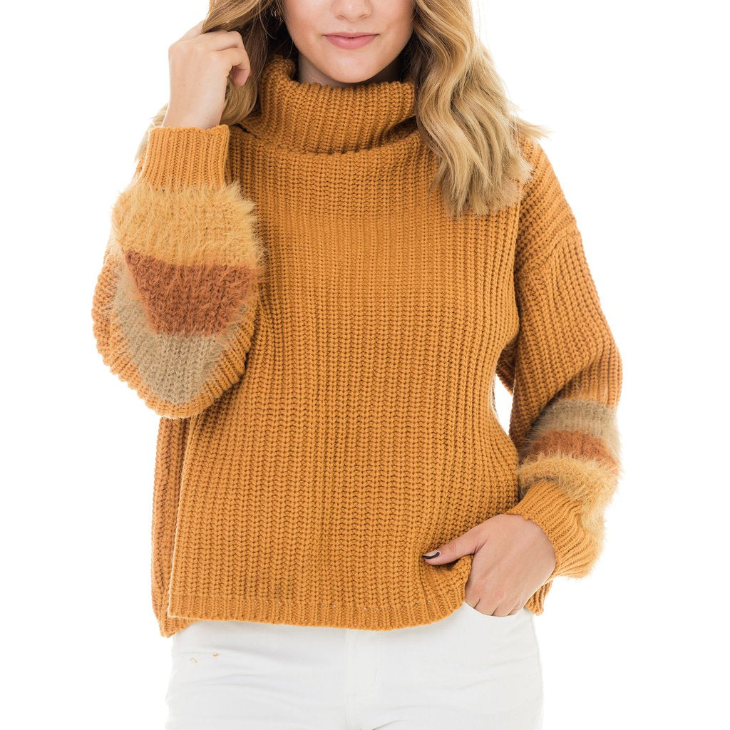 Mustard Sleeve Striped Sweater