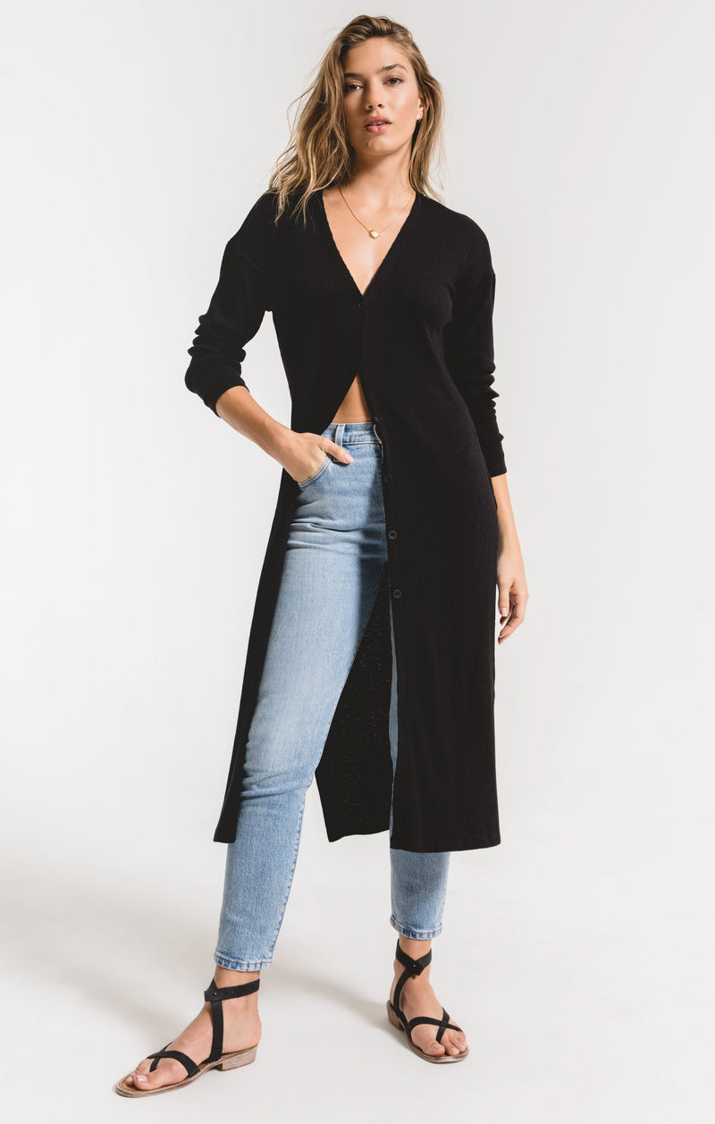 Textured Rib Duster Cardigan