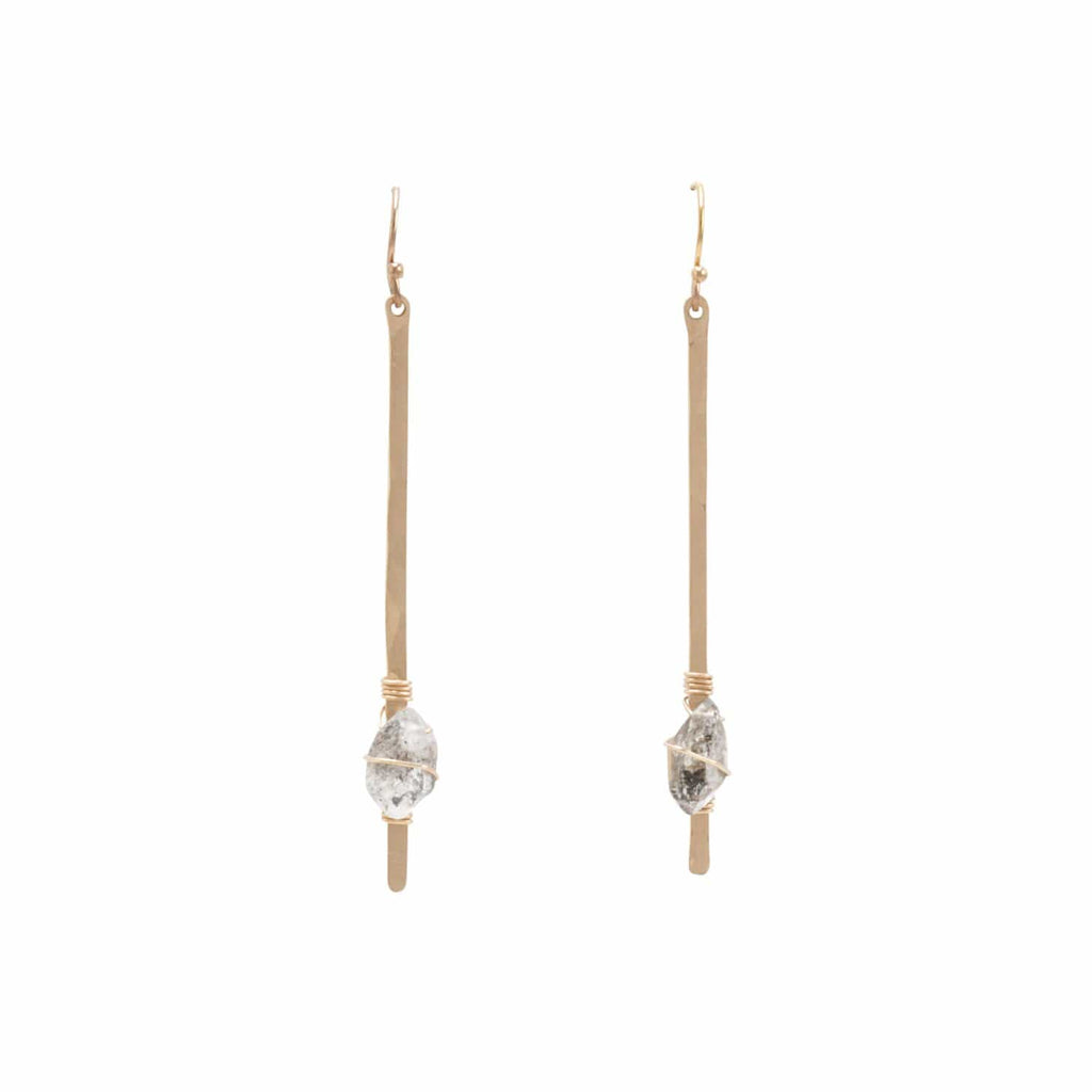 Altus Earrings- Short 14K Gold Fill & Herkimer Diamond