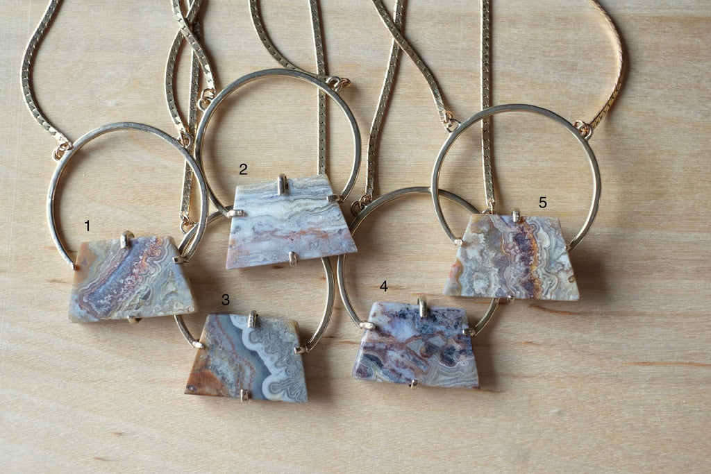 One of a Kind Crazy Lace Agate Crest Necklace