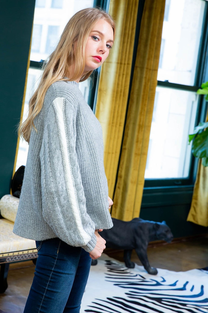 Grey Cable Knit Sweater with Ivory Sleeve Detail