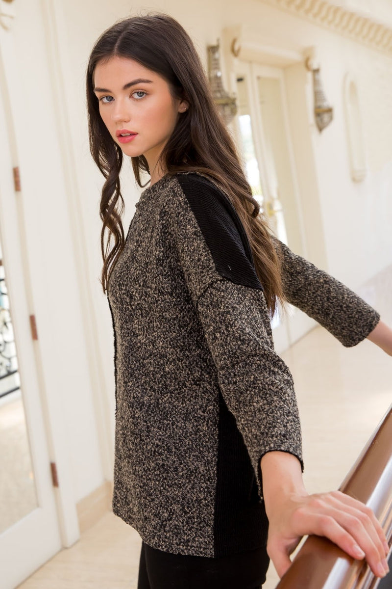 Drop Shoulder Boucle Sleeve Sweater