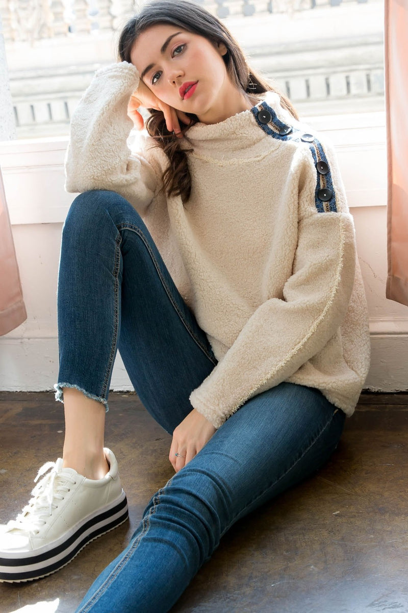 Ivory Plush Sweater with Navy Buttons