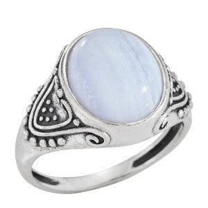 Fancy Sided Blue Lace Agate Ring