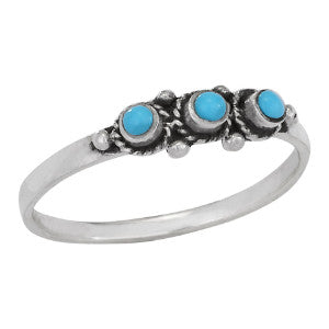Line of Triple Turquoise Ring