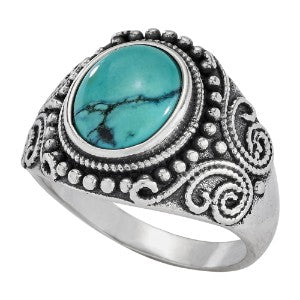 Turquoise Ring with Raised Balls