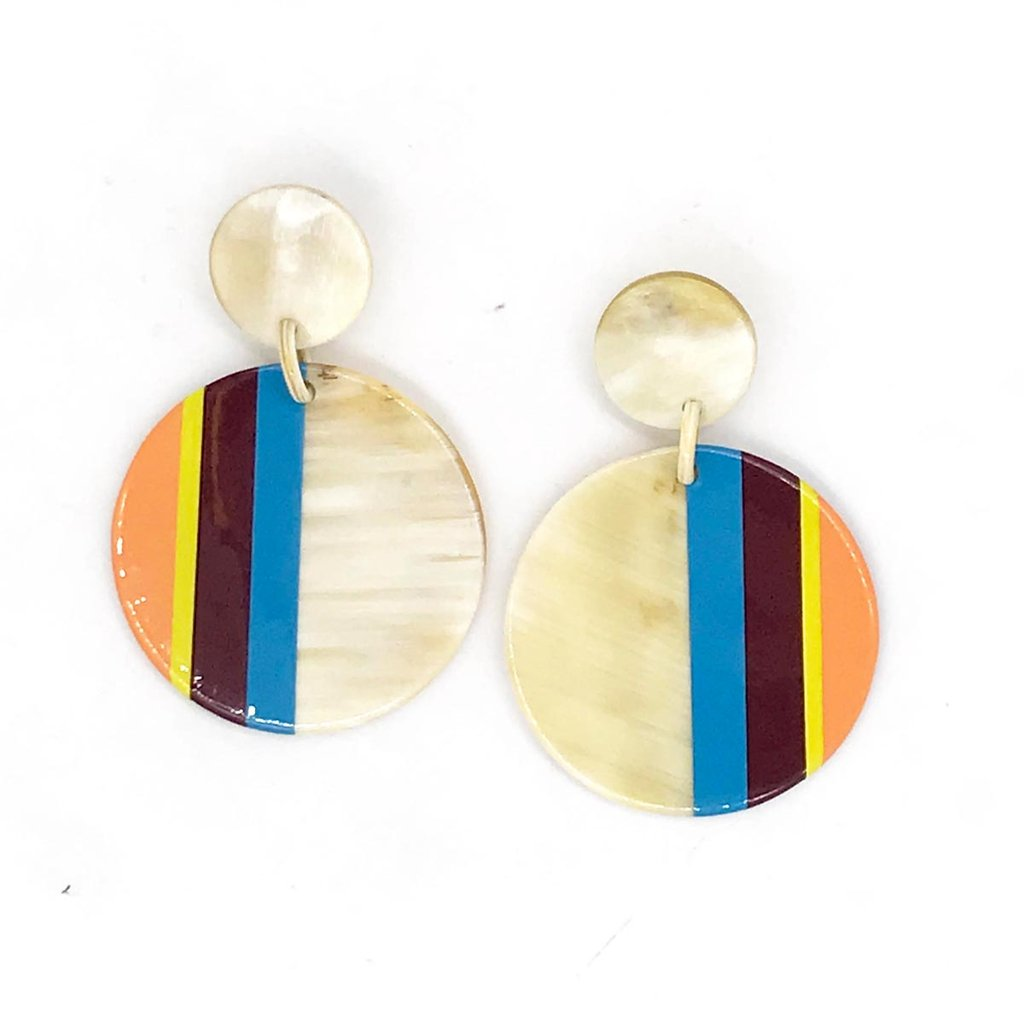 Turquoise Circle Stripe Earrings
