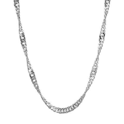 "30"" Singapore Link Silver Chain - Fiyah Jewellery - 3"