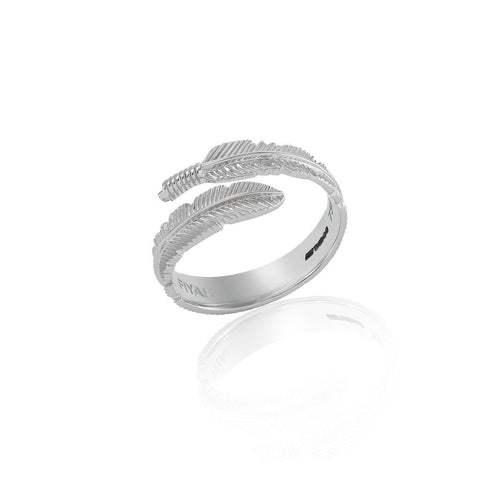 18ct White Gold Adjustable Plume Ring
