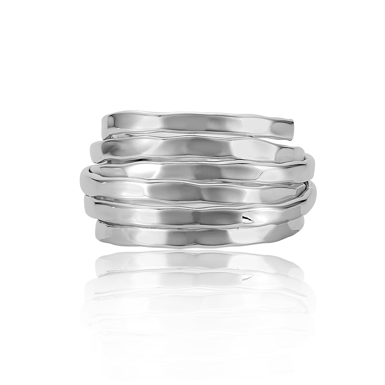 Adjustable Hammered Stack Ring