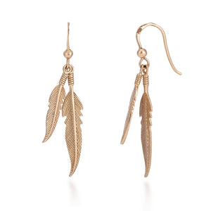 18ct Gold Dual Plume Earrings