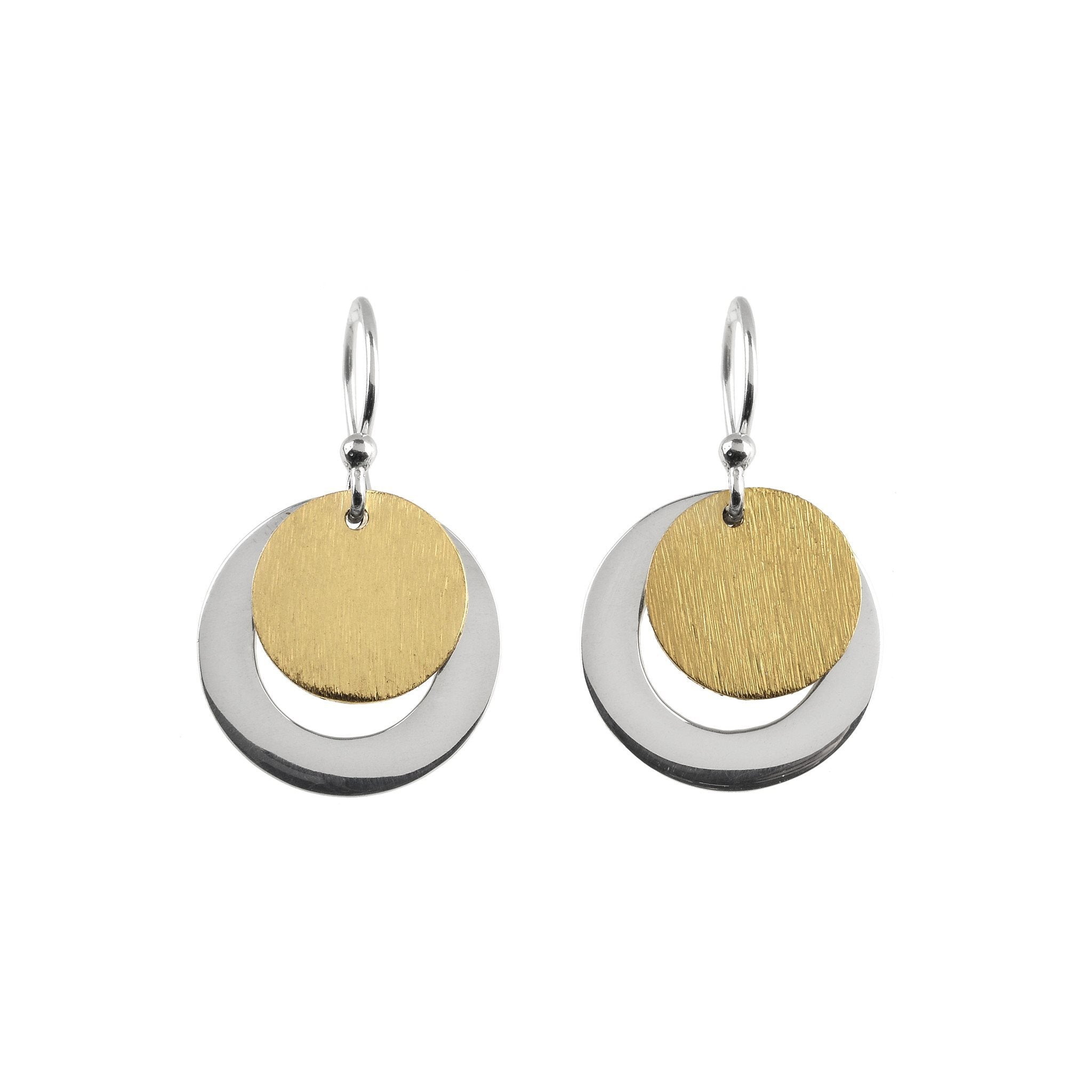 Silver and Gold Vermeil Drop Earrings - Fiyah Jewellery - 1