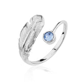 Adjustable Birthstone Feather Ring