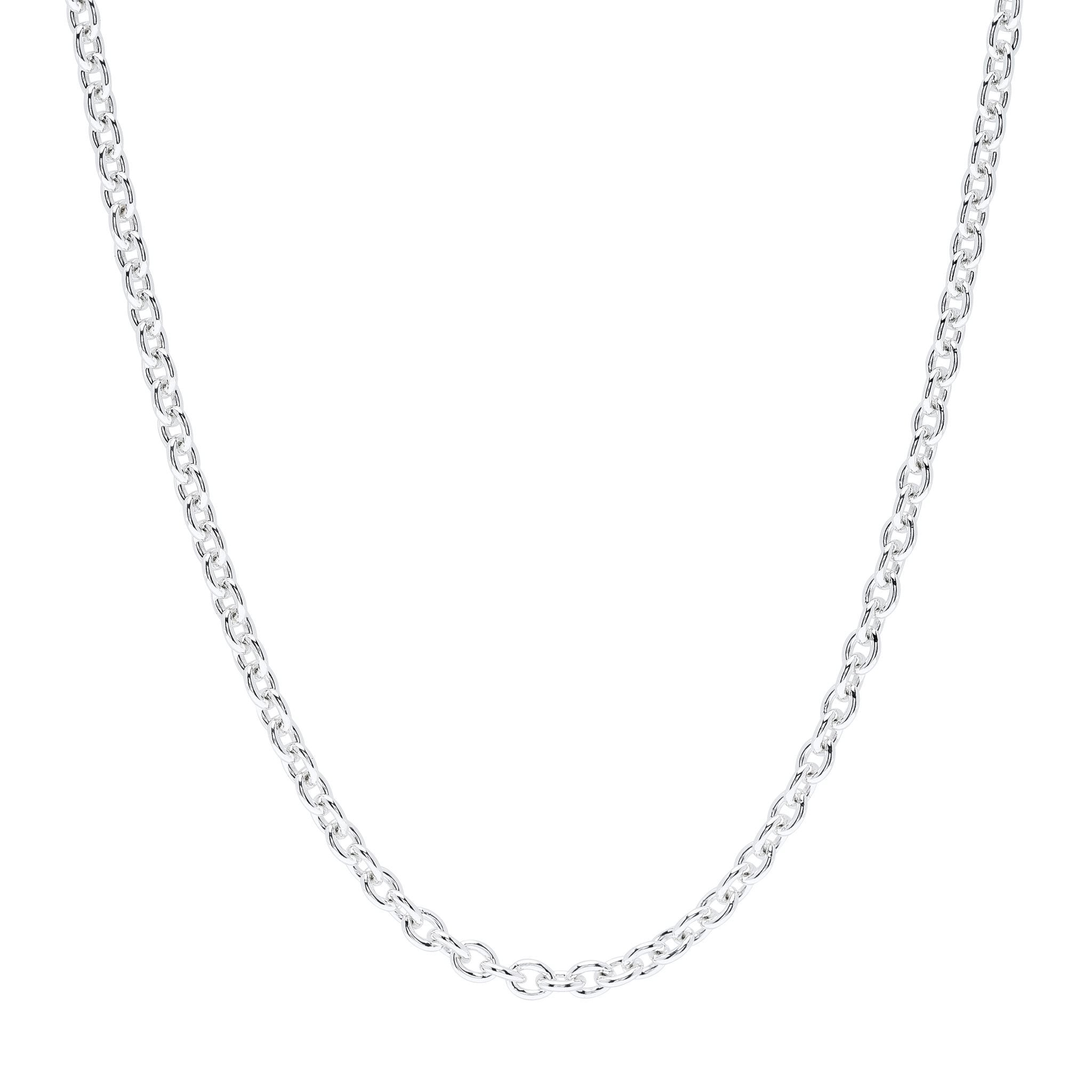 "20"" Round Link Silver Chain - Fiyah Jewellery - 1"