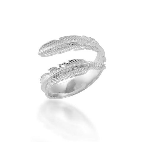 silver feather ring, adjustable plume ring